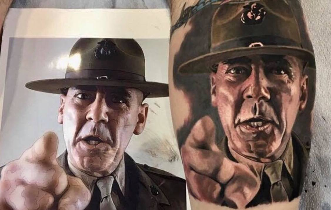 Tattoos, like this R. Lee Ermey portrait done by Marine veteran Justin Holcombe at Helix Tattoo Lodge in Maryland, have always been a staple of military culture. Now, personnel have another innovative tattoo method at their disposal. (Courtesy of Justin Holcombe/Helix Tattoo Lodge)