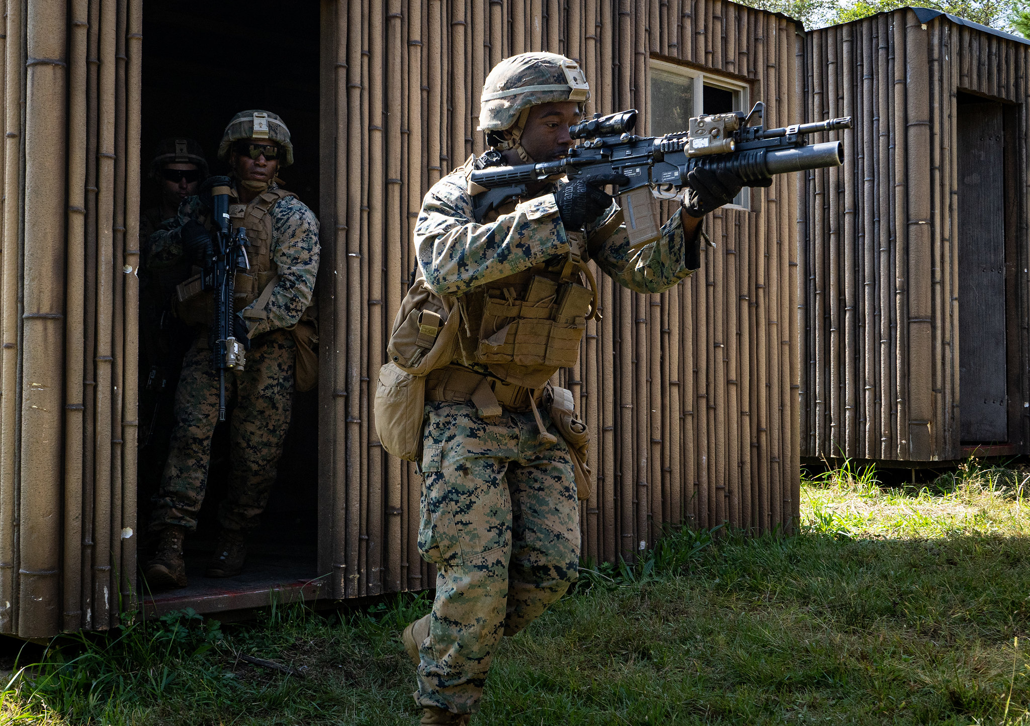 Marine Corps Cpl. Fred Nyema leads his team to the next building during military operations in urban terrain training as part of exercise Fuji Viper 20.1 on Camp Fuji, Japan, Oct. 7, 2019. (Cpl. Timothy Hernandez/Marine Corps)