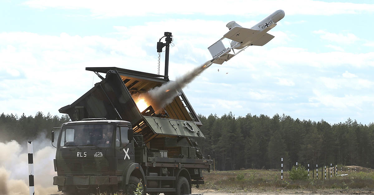 A KZO reconnaissance drone of the German armed forces launches with the help of a booster rocket during the Thunder Storm 2018 multinational NATO military exercises on June 7, 2018, near Pabrade, Lithuania. (Sean Gallup/Getty Images)