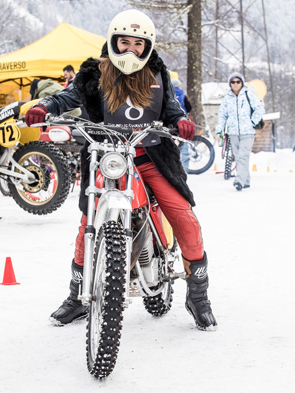 Fur collar, Elders Co. helmet and a vintage KTM — is there such thing as too much style? (Monti Smith)