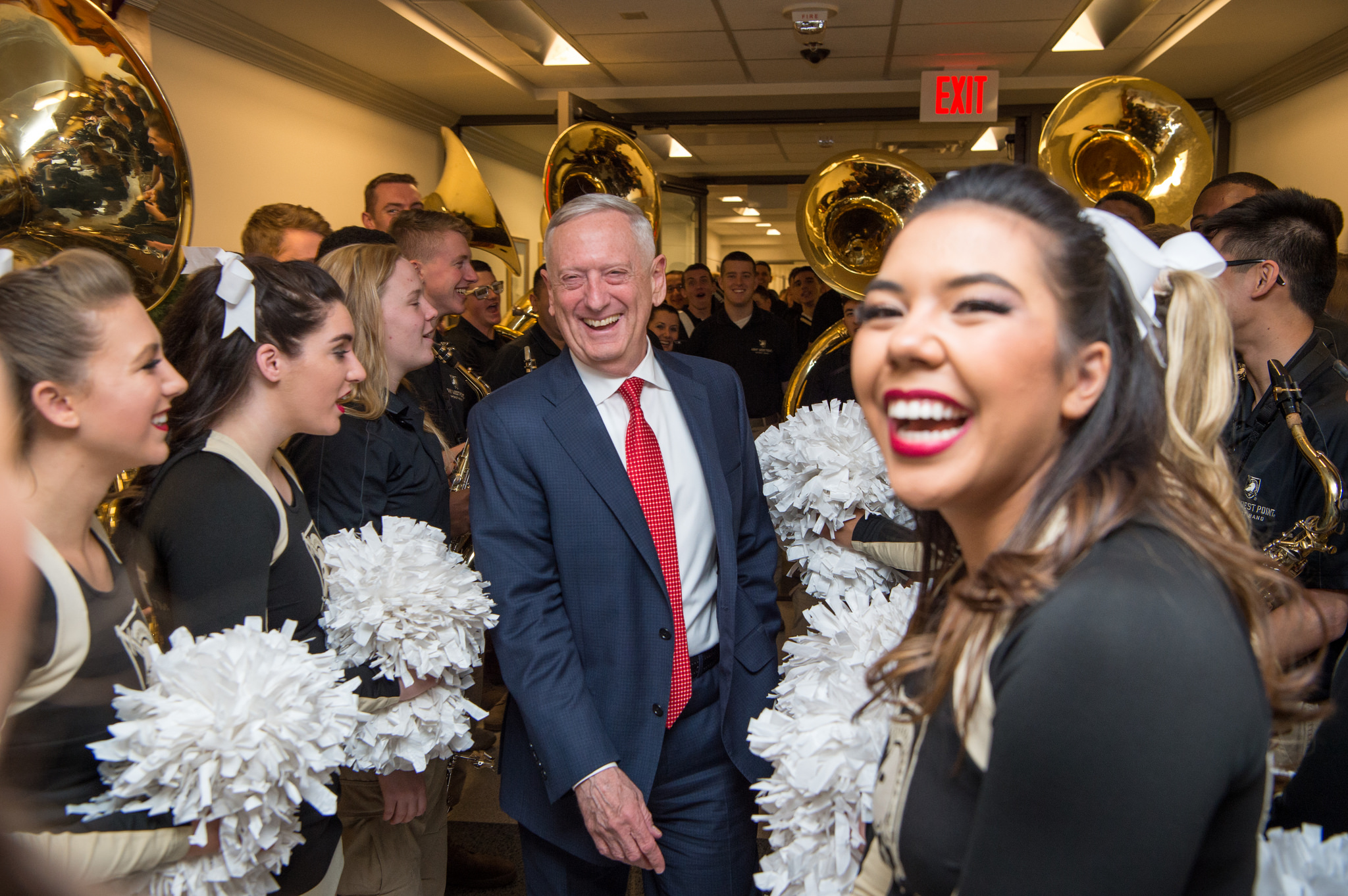 Secretary of Defense James N. Mattis cheers on the U.S. Army football team during a pep rally at the Pentagon on Dec. 8, 2017, in Washington. (Air Force Staff Sgt. Jette Carr/DoD)