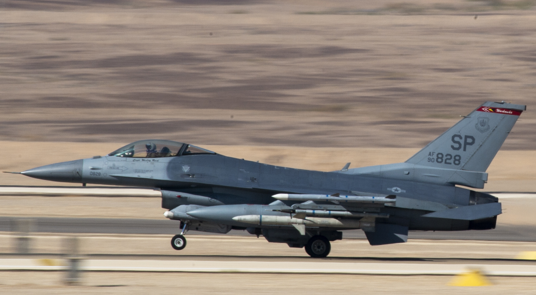 A U.S. Air Force F-16 takes off during Blue Flag at Uvda Air Base, Israel, on Nov. 4, 2019. (Airman 1st Class Kyle Cope/U.S. Air Force)