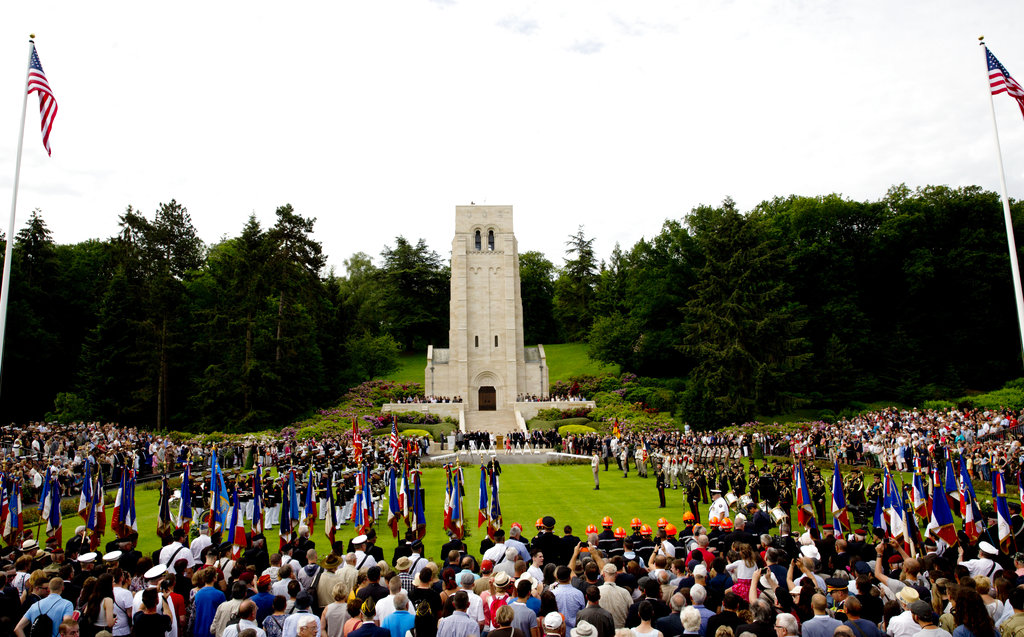 People attend a Memorial Day commemoration at the Aisne-Marne American Cemetery in Belleau, France, Sunday, May 27, 2018. (Virginia Mayo/AP)