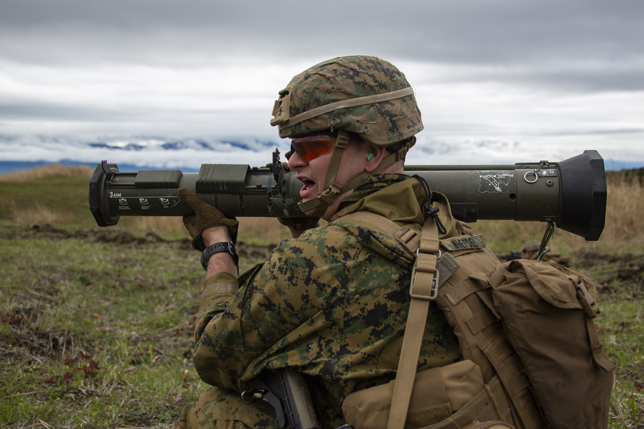 Lance Cpl. Andrew Whetsel prepares to fire an AT4 Rocket Launcher on May 1, 2019, during a live-fire training exercise at Combined Arms Training Center, Camp Fuji, Japan. (Lance Cpl. Joshua Sechser/Marine Corps)