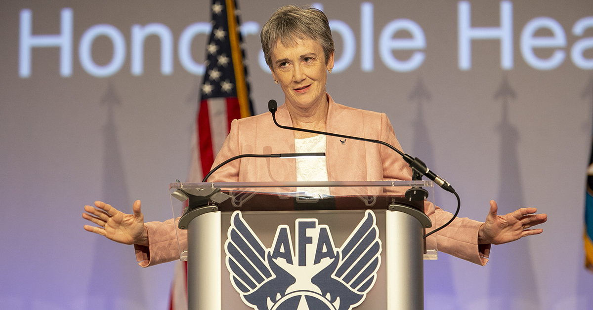 Sec. of the Air Force Heather Wilson speaks during the opening day of the Air Force Association's Air, Space & Cyber conference held at the Gaylord National Resort & Conference Center in Oxon Hill, MD.(Alan Lessig/Staff)