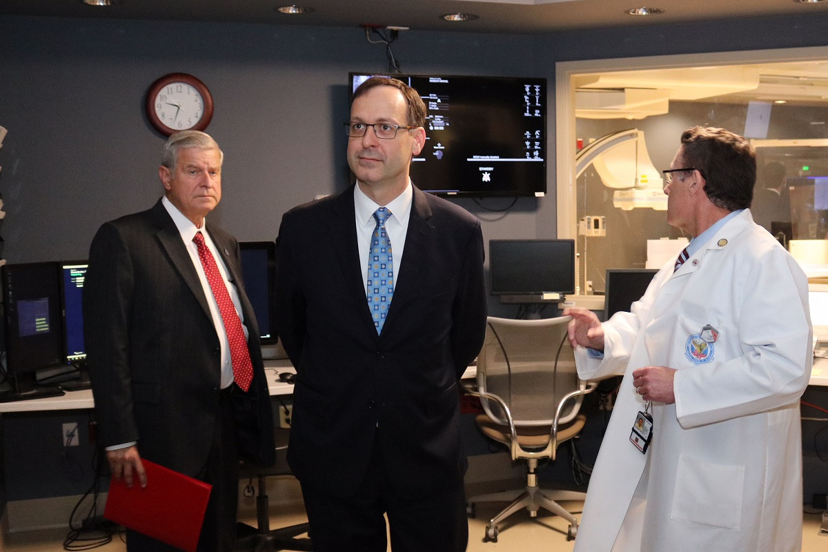 Acting VA Secretary Peter O'Rourke (center) meets with VA North Texas Health Care System officials during a trip to the facility on June 18, 2018. Democratic lawmakers are questioning whether recent employee moves by O'Rourke at VA headquarters are politically motivated and in violation of federal law. (Courtesy of the Department of Veterans Affairs)