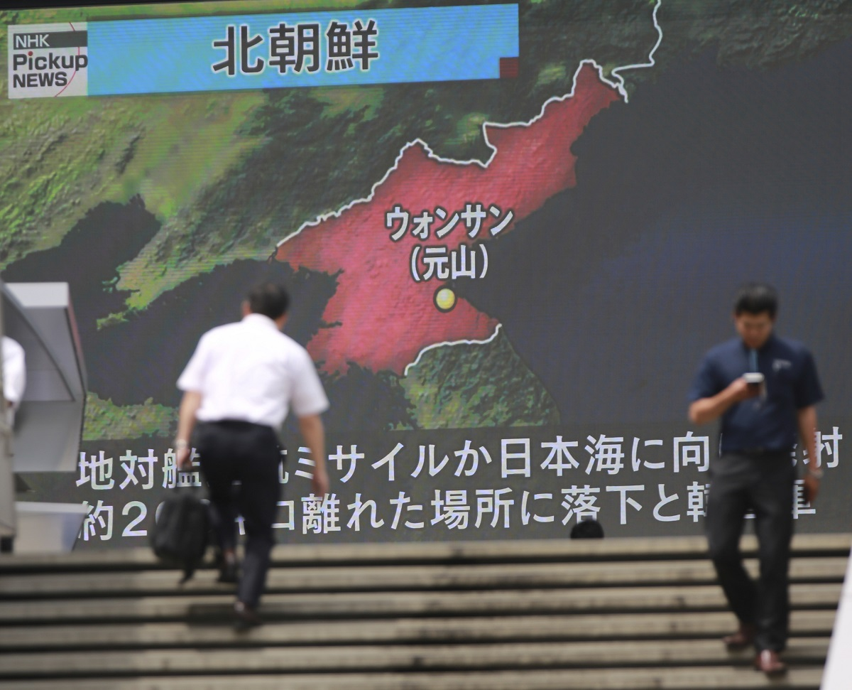 A screen shows a news program in Tokyo about North Korea's missile firing. A defensive rather than offensive capability, four Kumsong-3 missiles were tested June 8 in the Sea of Japan. Each missile flew about 200 kilometers. The missile is a North Korean variant of the Russian Kh-35 anti-ship cruise missile. (Eugene Hoshiko/AP)