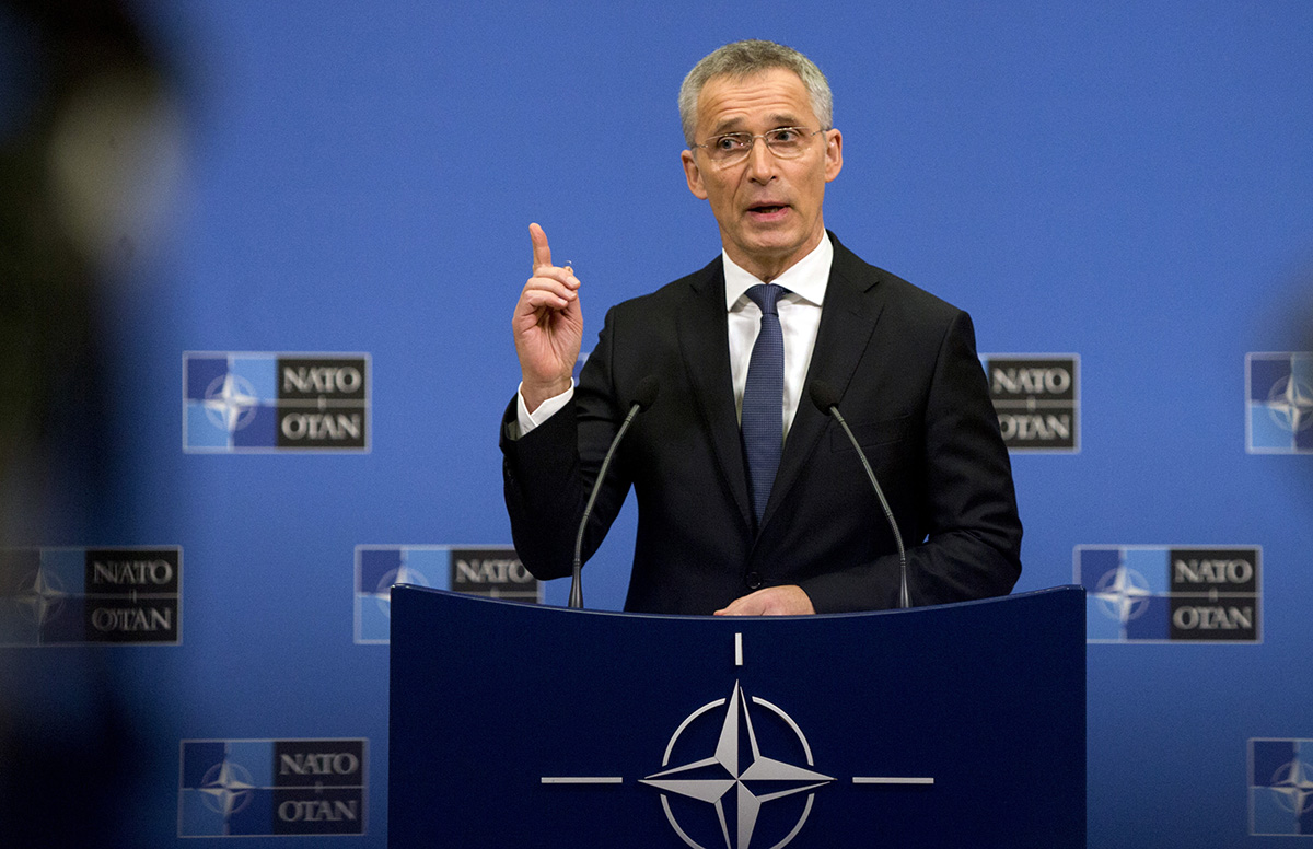NATO Secretary General Jens Stoltenberg speaks during a media conference at NATO headquarters in Brussels on April 1, 2019. (Virginia Mayo/AP)
