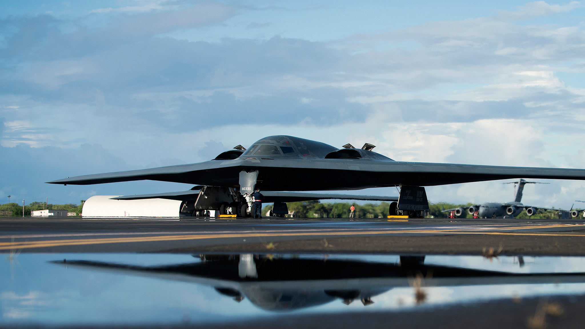 A U.S. Air Force B-2 Spirit, deployed from Whiteman Air Force Base, Mo., to Joint Base Pearl Harbor-Hickam, Hawaii, in support of the U.S. Strategic Command's Bomber Task Force deployment, is parked on the flightline on Sept. 26, 2018. (Staff Sgt. Danielle Quilla/Air Force)