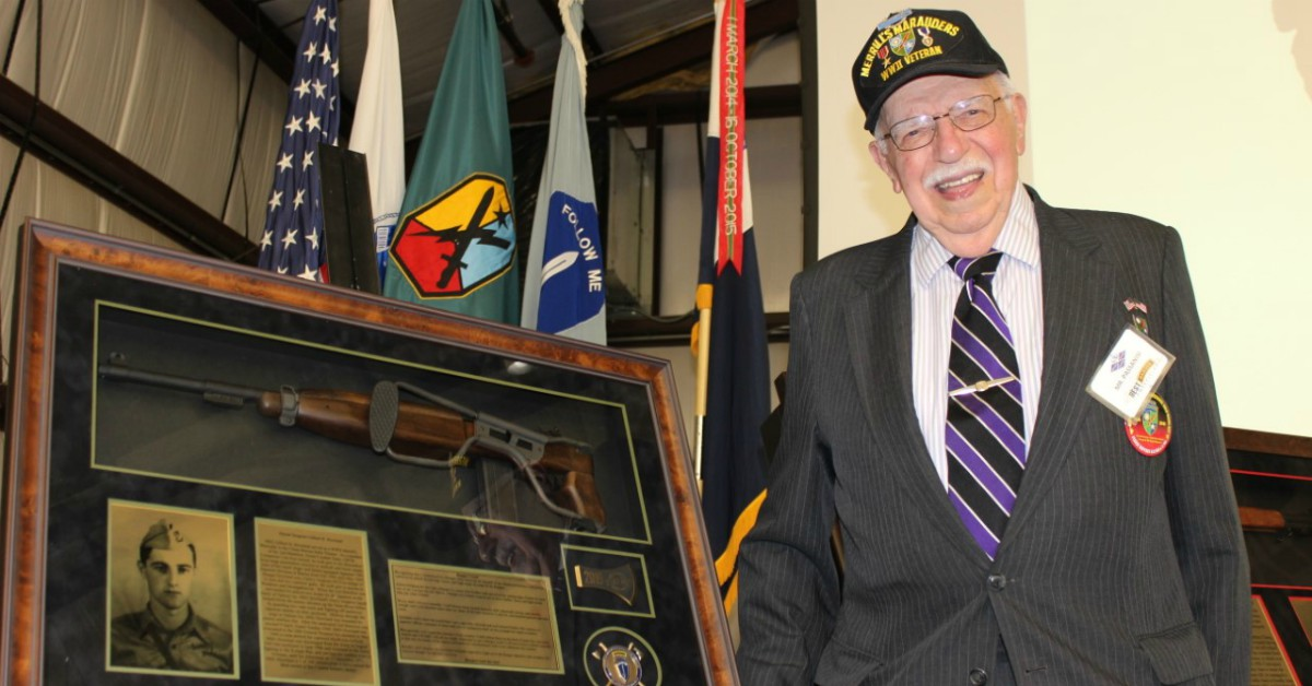Bob Passanisi stands in front of a 2019 donor award that honors the service of Merrill's Marauders during the 2019 Best Ranger Competition in Ft. Benning, Ga. He is one of 14 surviving members of the unit that fought the Japanese in Burma during WWII. (Photo provided by Jonnie Clasen)