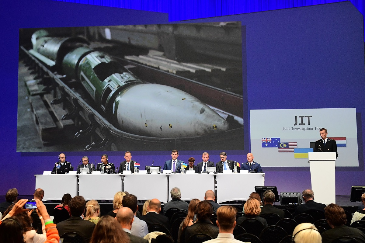 Members of a joint investigation team present preliminary results of the criminal investigation into the downing of Malaysia Airlines Flight MH17 in Nieuwegein, on Sept. 28, 2016. (Emmanuel Dunand/AFP via Getty Images)