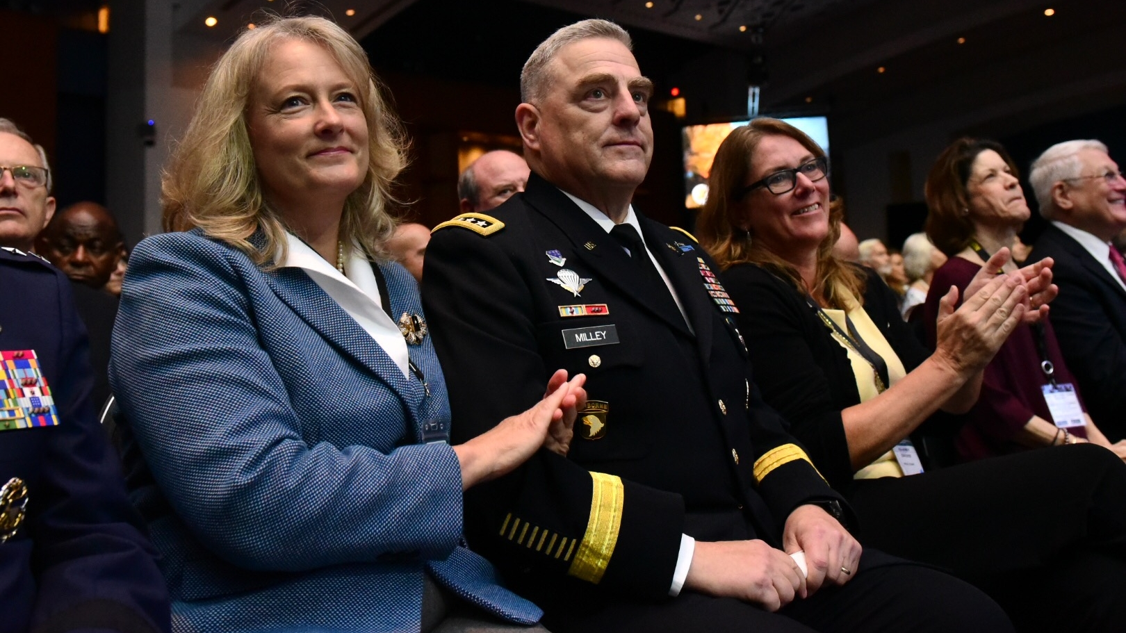 Army Chief of Staff Gen. Mark MIlley and his wife Hollyanne enjoy the opening ceremony for the 2018 annual meeting and exposition in Washington, DC. (Stephen Barrett/Special to Defense News & Army Times)