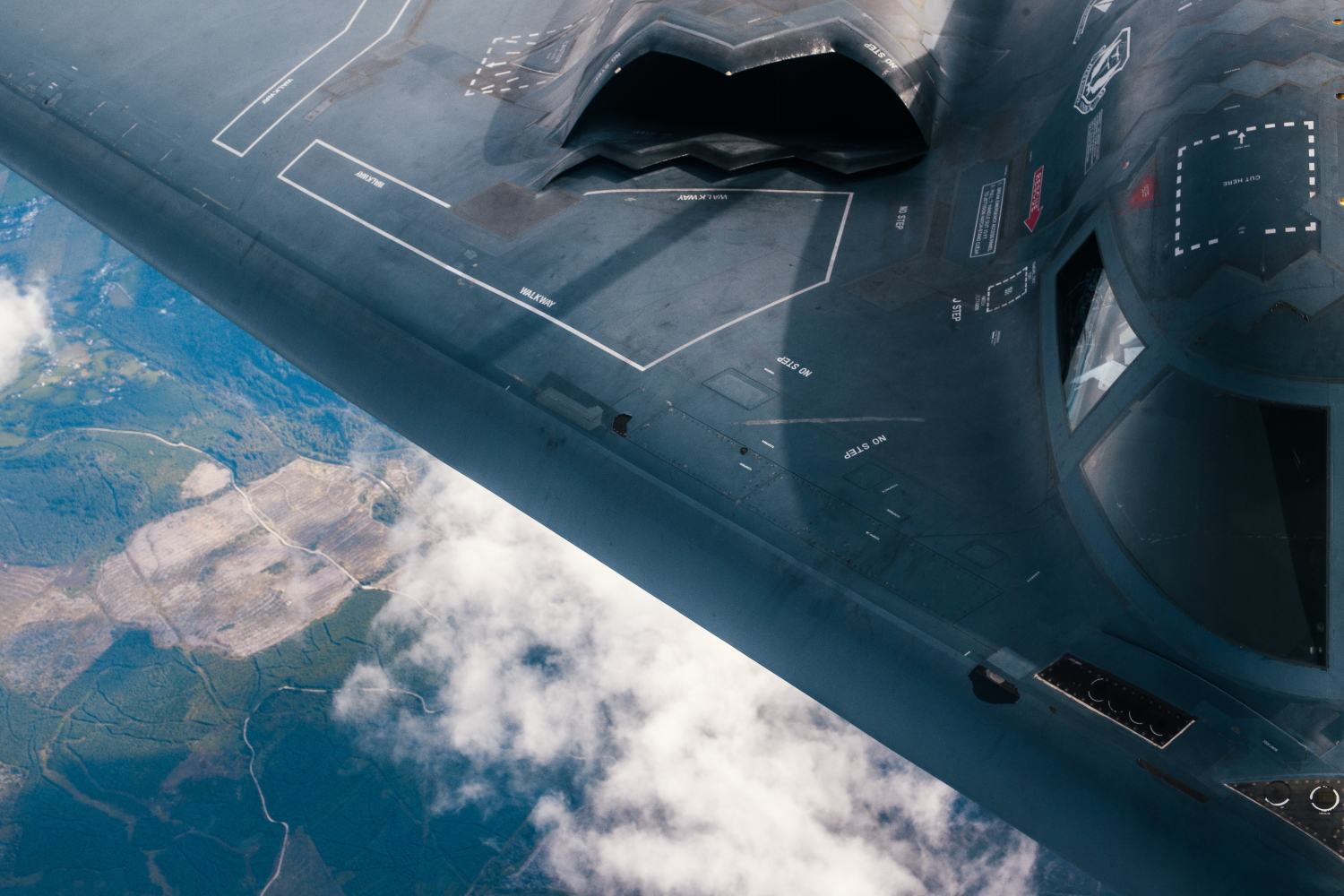 A 509th Bomb Wing B-2 Spirit refuels from a 351st Aerial Refueling Squadron KC-135 Stratotanker during the Bomber Task Force training exercise over the United Kingdom, Aug. 29, 2019. (Staff Sgt. Jordan Castelan/Air Force)