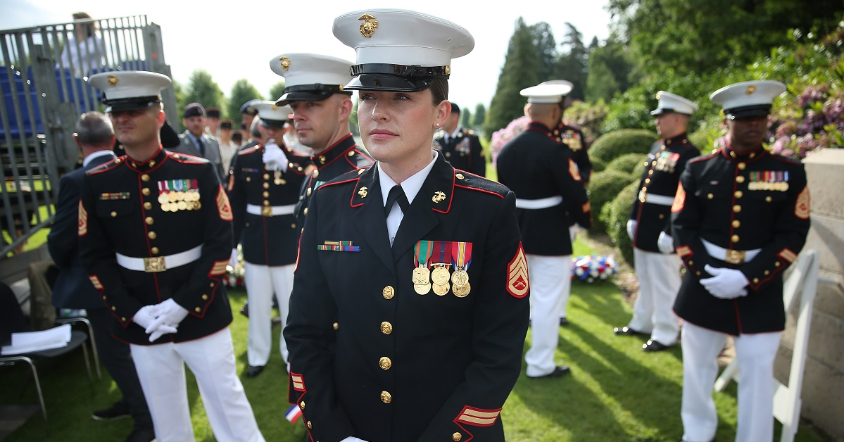 Now that the Corps has a new female dress blue coat it plans to shelve the old one. (Sean Gallup/Getty Images)