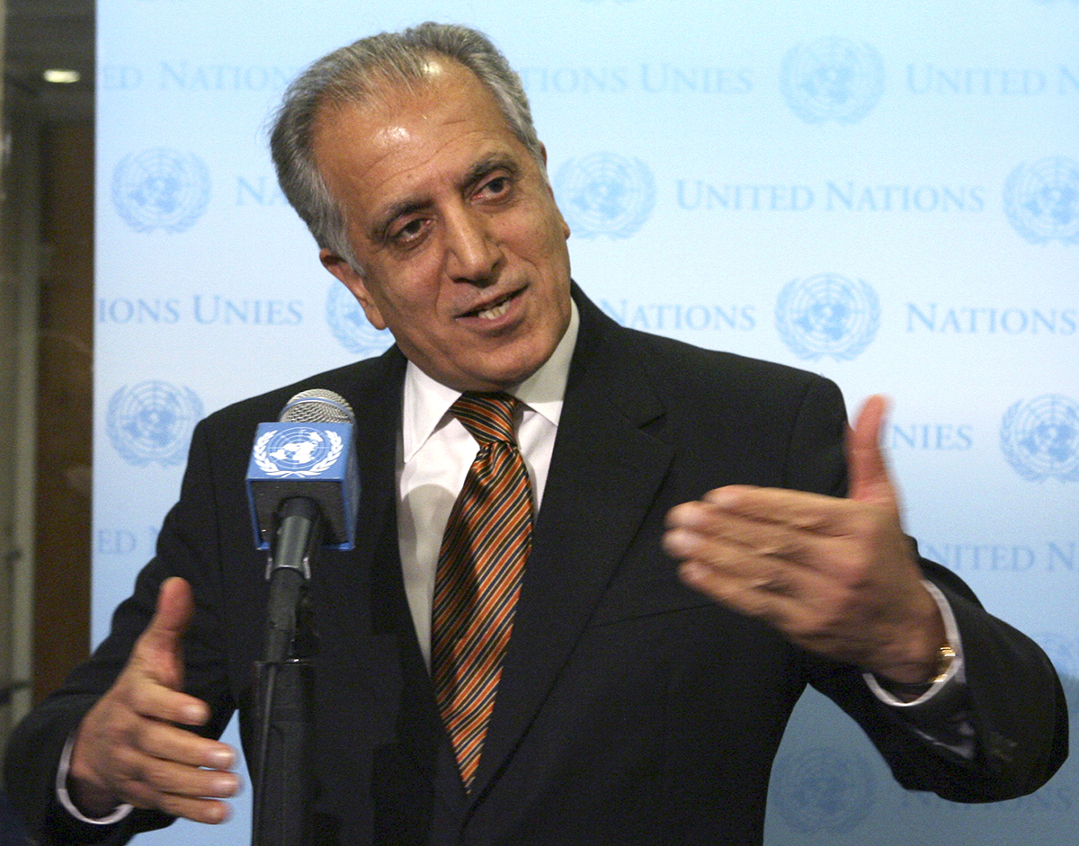 In this Jan. 5, 2009, file photo, then-U.S. Ambassador to the U.N. Zalmay Khalilzad, speaks to reporters at the United Nations headquarters. (Mary Altaffer/AP)