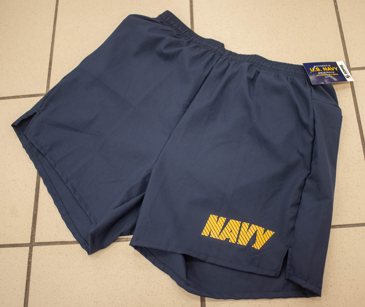 The Navy's new physical training uniform shorts have a five-inch inseam and a zippered pocket. (Mark D. Faram/Staff)