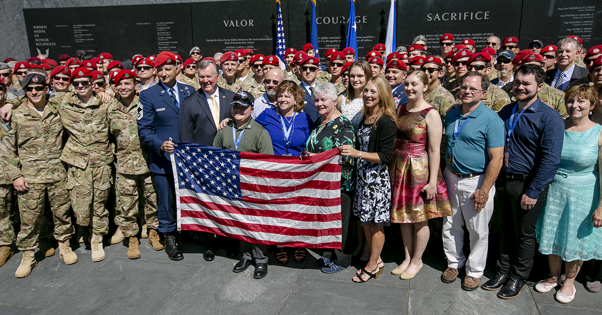 Chapman's family and Airmen gather together for a photo after a Medal of Honor unveiling ceremony at the Air Force Memorial for Air Force combat controller Technical Sgt. John Chapman, who was posthumously awarded the Medal of Honor on Wednesday for actions on Takur Ghar mountain in Afghanistan on March 4, 2002. (Alan Lessig/Staff)