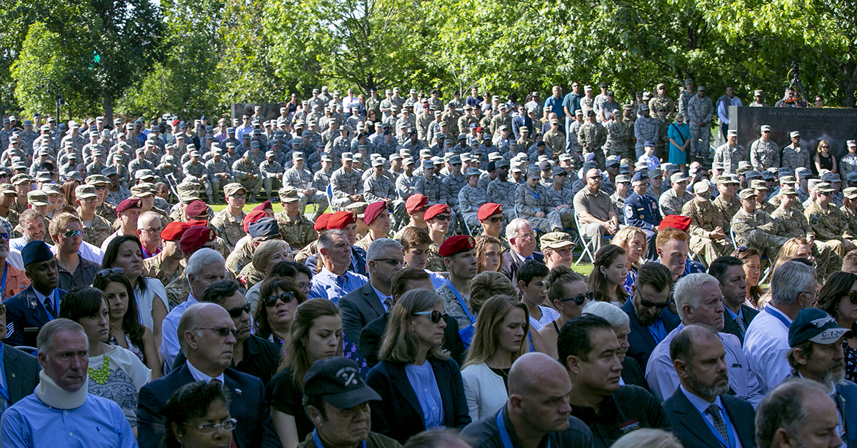 More than 600 Airmen, family and friends attend a Medal of Honor unveiling ceremony at the Air Force Memorial for Air Force combat controller Technical Sgt. John Chapman, who was posthumously awarded the Medal of Honor on Wednesday for actions on Takur Ghar mountain in Afghanistan on March 4, 2002. (Alan Lessig/Staff)