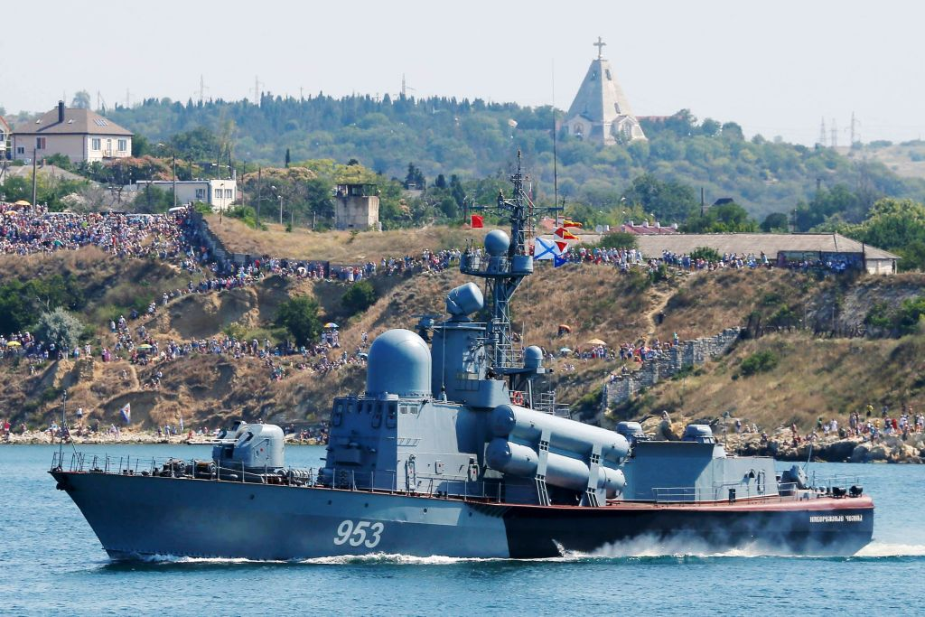 Russian Navy missile launcher ship Naberezhnye Chelny sails during a parade as part of the Navy Day celebration in Sevastopol on July 28, 2019. (EKATERINA SHTUKINA/AFP/Getty Images)