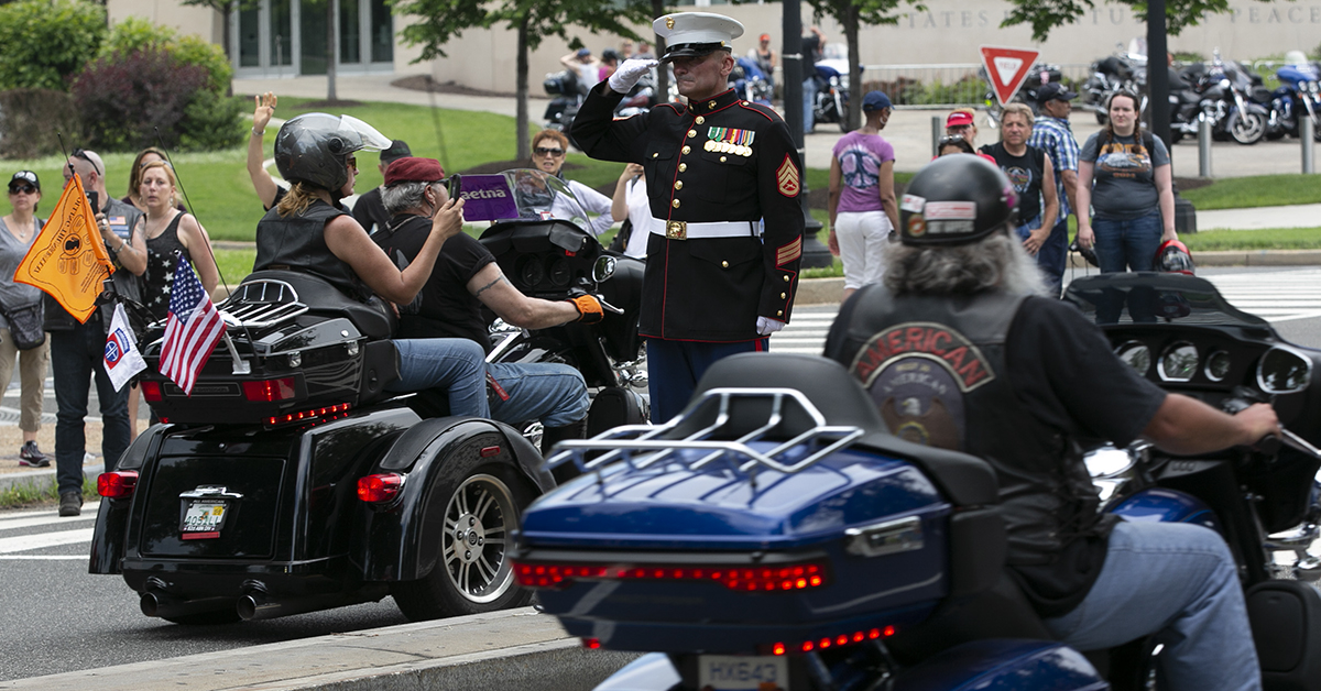 Salute to the riders during Rolling Thunder XXXI First Amendment Demonstration Run after they passed the Lincoln Memorial in Washington, DC on Sunday May 27, 2018. Motorcycle riders from across the nation, rode a designated route through the Mall area of Washington, D.C. The event is an actual demonstration/protest to bring awareness and accountability for POWs and MIAs left behind.(Alan Lessig/Staff)