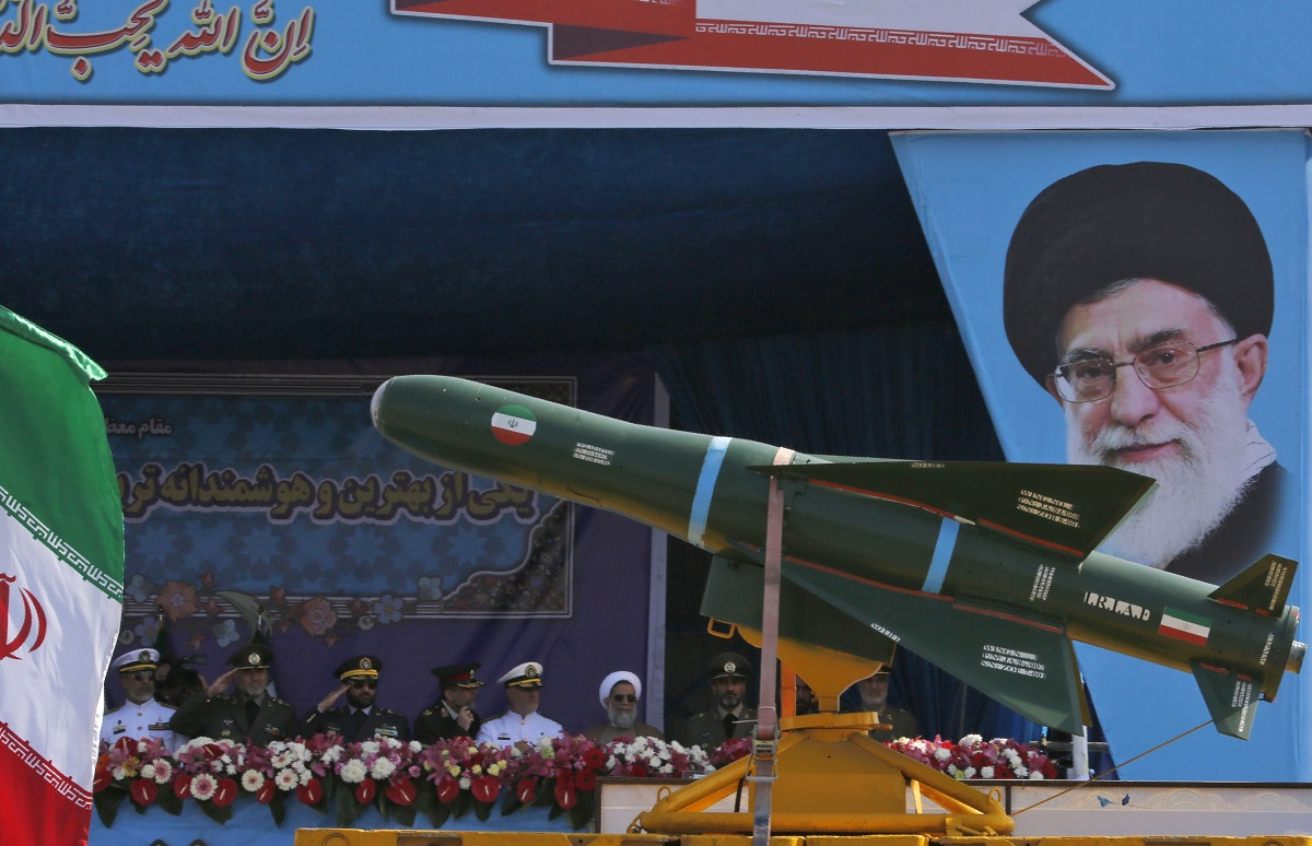 An Iranian military truck carries missiles in an Army Day parade on April 18, 2018, in Tehran. (Atta Kenare/AFP via Getty Images)