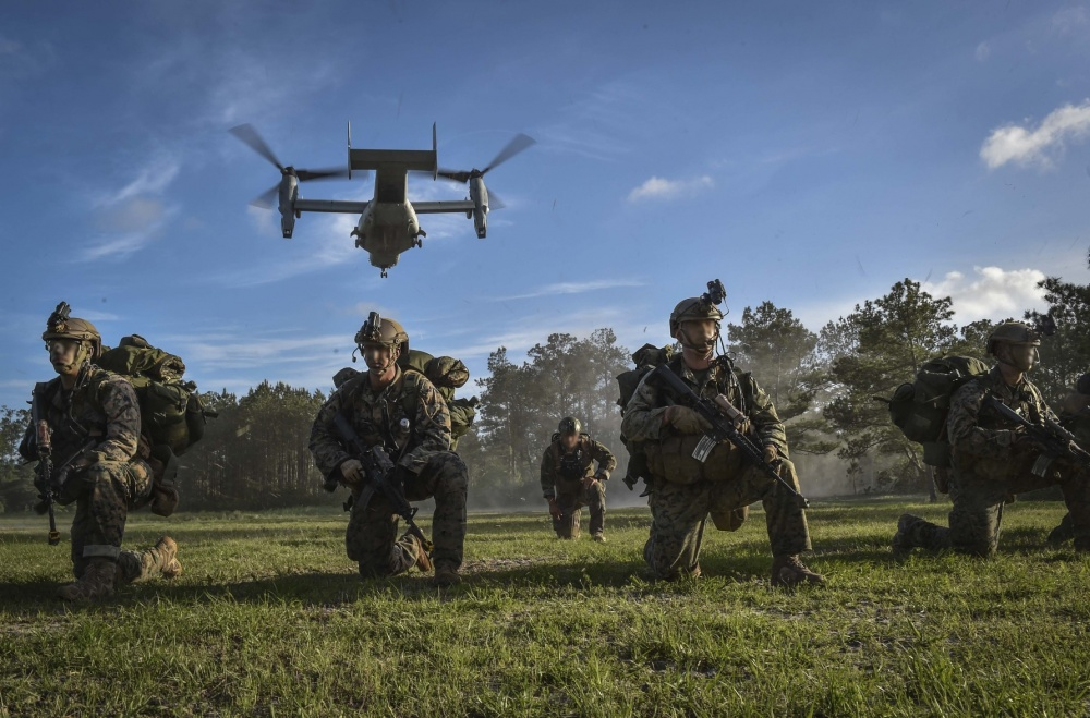 A U.S. Marine MV-22 Osprey takes off after Marine Special Operations School students infiltrate their objective during Field Training Exercise Raider Spirit, May 1, 2017, at Camp Lejeune, N.C. (Senior Airman Ryan Conroy/ Air Force)