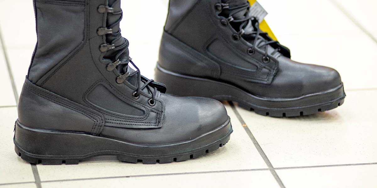 Side detail of the The Navy's new improved safety boot for industrial and at-sea environments. (Mark D. Faram/staff)