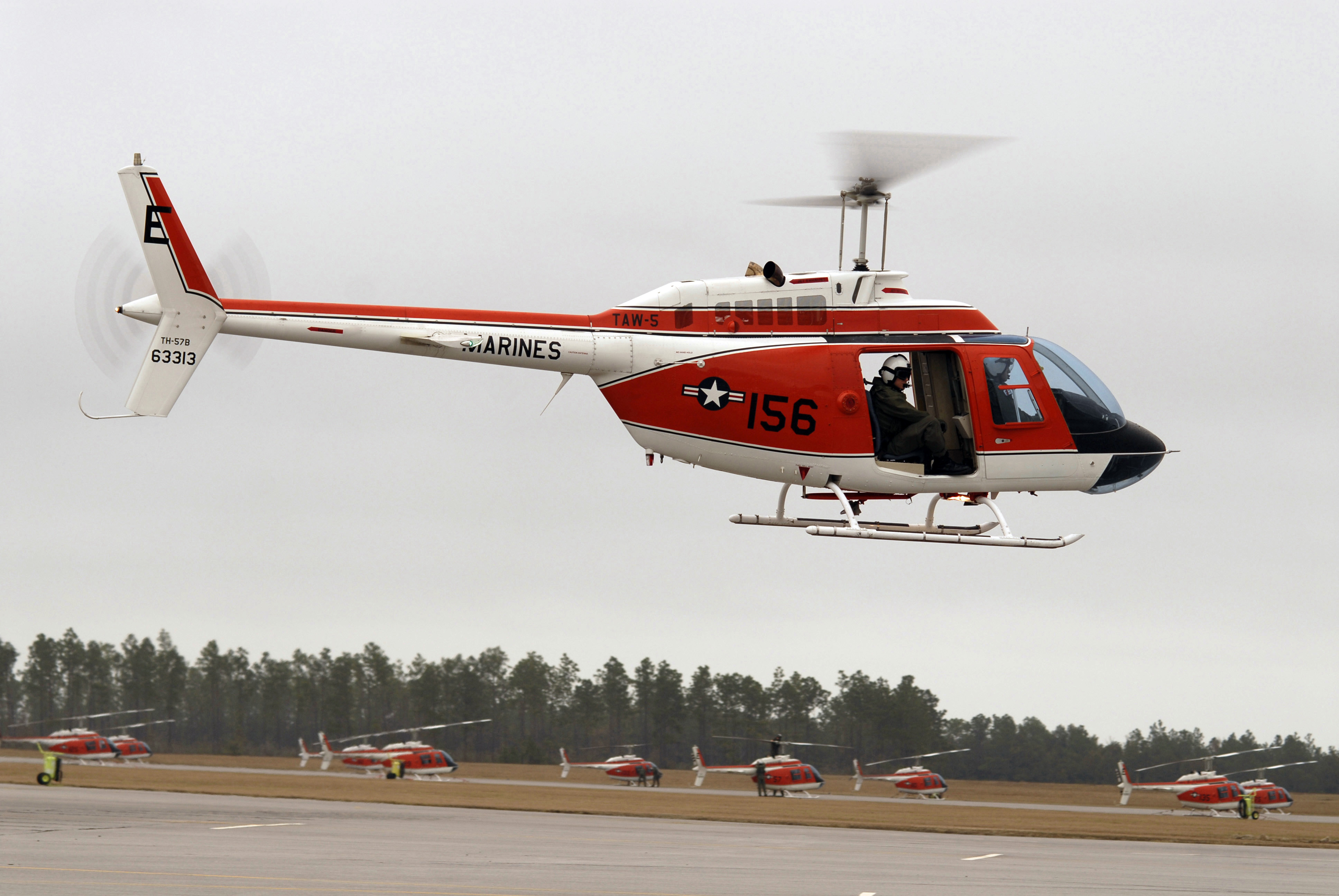 081216-N-2101W-003 MILTON, Fla. (Dec. 16, 2008) A TH-57 Sea Ranger helicopter taxis down the flight line preparing for a routine training flight at Naval Air Station Whiting Field. (U.S. Navy photo by Alan Warner/Released)