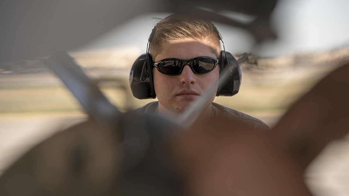 Airman 1st Class Zach Oborn drives an MJ-1B Jammer during Green Flag-West 19-8 at Nellis Air Force Base, Nev., on June 8, 2019. (Master Sgt. Joshua C. Allmaras/Air National Guard)