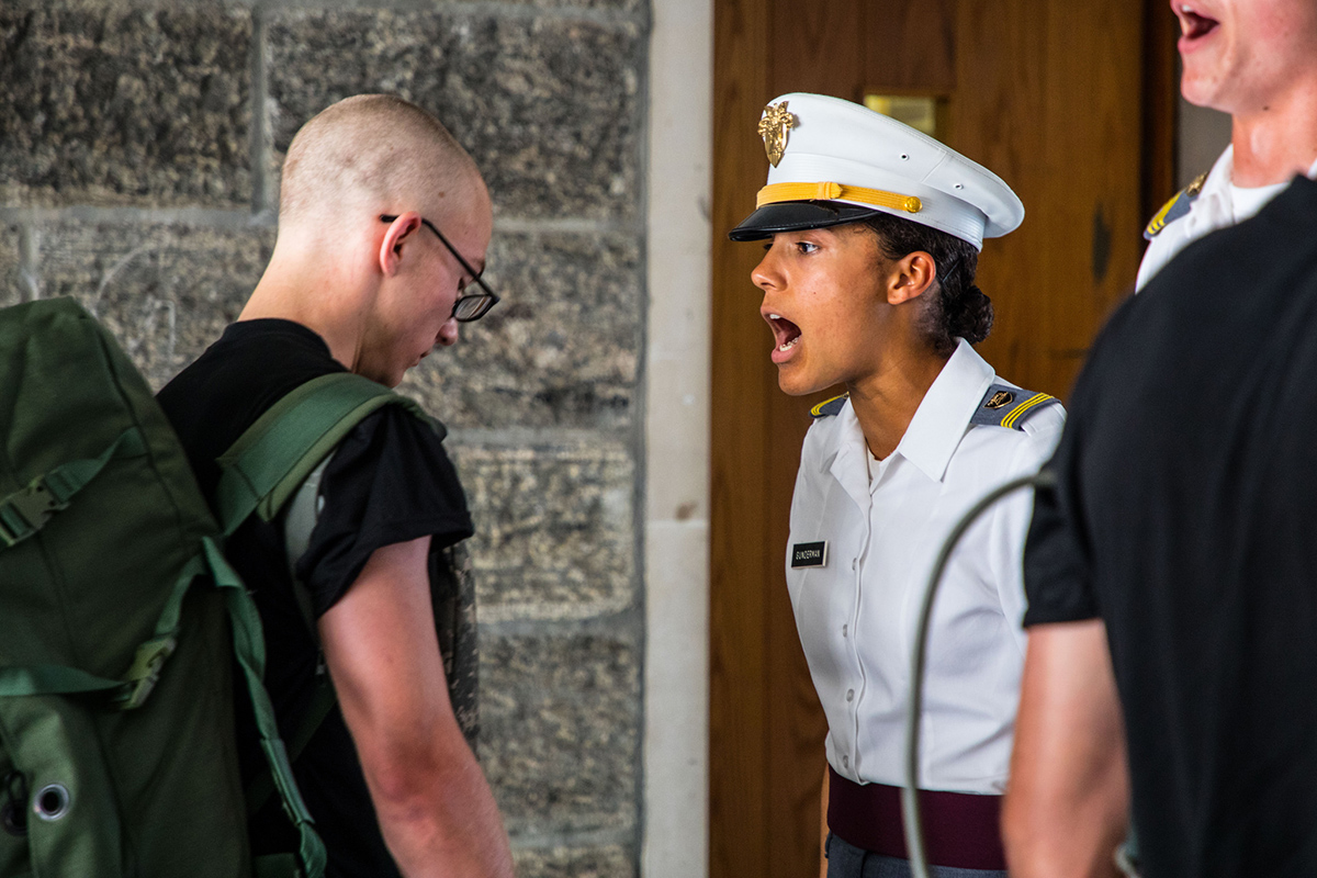 One of the U.S. Military Academy at West Point's most time-honored traditions, new cadets are required to report to the senior cadets during Reception Day to demonstrate fundamental military skills under pressure. The more than 1,200 cadets reporting on July 2, 2018, will be tested on physical fitness and learn military fundamentals ahead of six weeks of Cadet Basic Training. (Michelle Eberhart/Army)