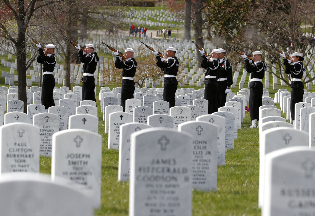 The firing party fires one of three volleys during burial services for Capt. Thomas J. Hudner Jr., a naval aviator and Medal of Honor recipient from Concord, Mass., at Arlington National Cemetery Wednesday, April 4, 2018 in Arlington, Va. Hudner earned the Medal of Honor for his actions in the Battle of the Chosin Reservoir during the Korean War.(Alex Brandon/AP)