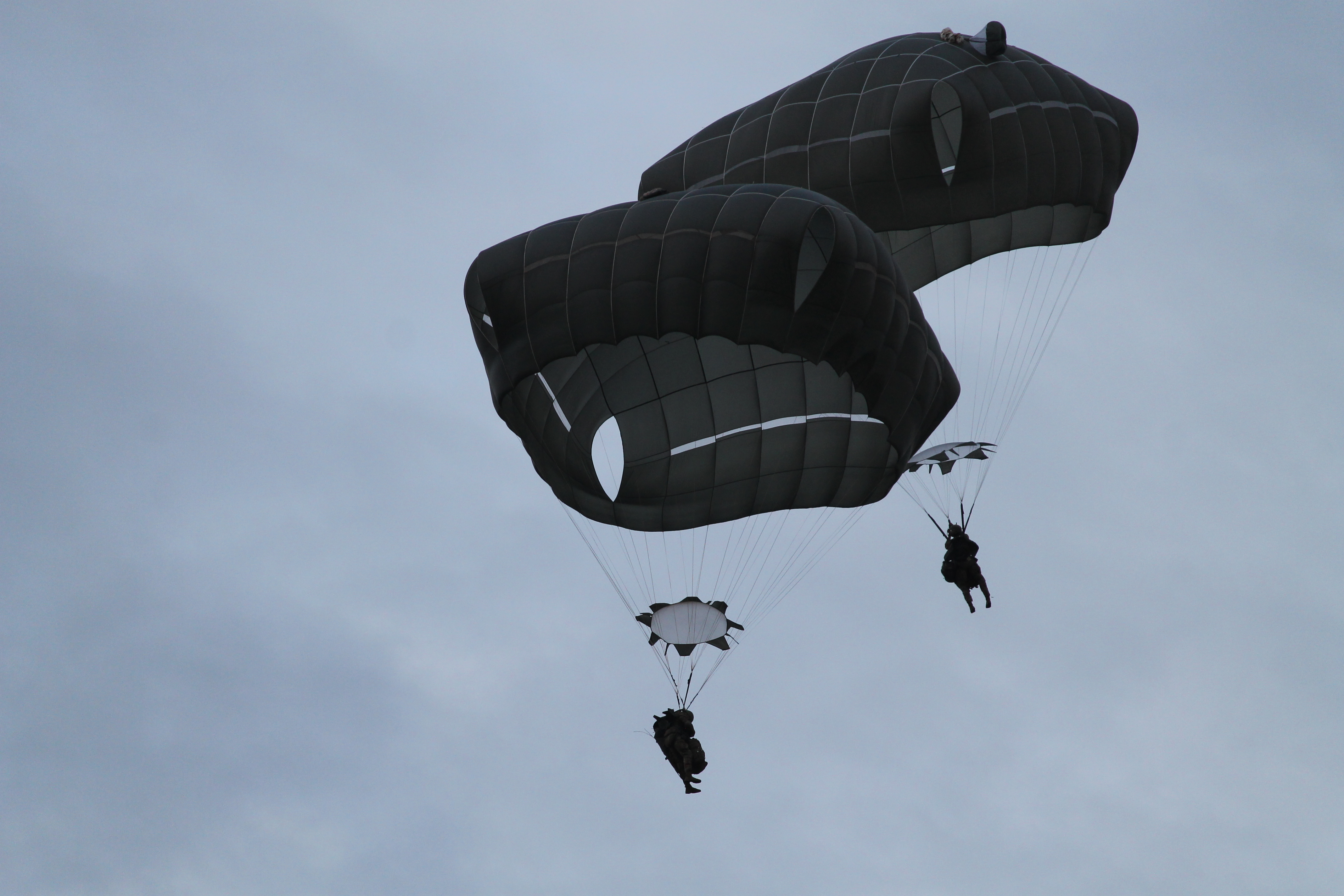 A pair of paratroopers drifts toward the ground after jumping from a C-130. (Jen Judson/Staff)