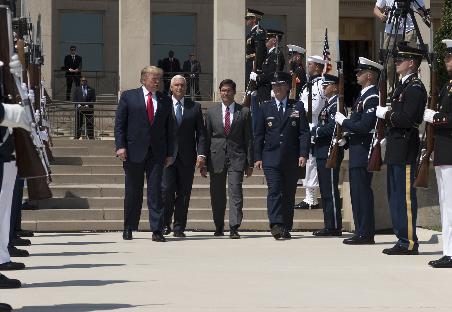 President Donald Trump, Vice President Michael Pence, Secretary of Defense Dr. Mark T. Esper and Air Force Gen. Paul J. Selva, vice chairman of the Joint Chiefs of Staff, participate in a full honors welcome ceremony for Secretary Esper at the Pentagon on July 25, 2019. (Army Sgt. Amber I. Smith/DoD)