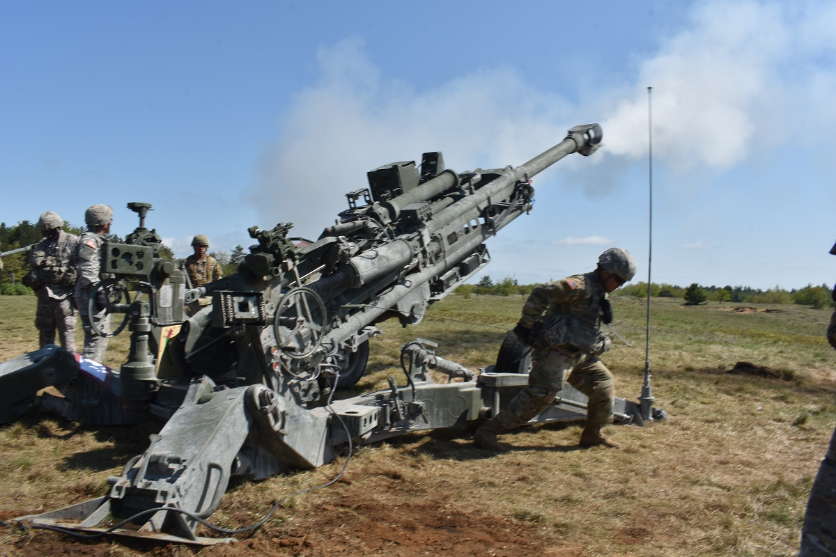 A new technology unveiled recently could extend artillery such as this 155 mm Howitzer to as far as 60 miles or more. Testing is expected to begin next year and operational readiness could happen as soon as 2023.( Spc. Andrew Valenza/Army)