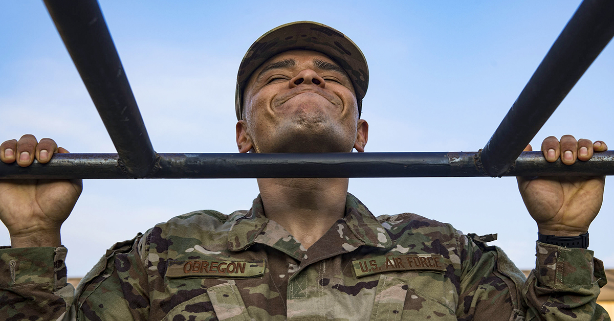 Tech. Sgt. Jose Obregon, 347th Operations Support Squadron independent duty medical technician, performs pull ups during a Pre-Ranger Assessment Course, Aug. 24, 2018, at Moody Air Force Base, Georgia. (Senior Airman Greg Nash/Air Force)