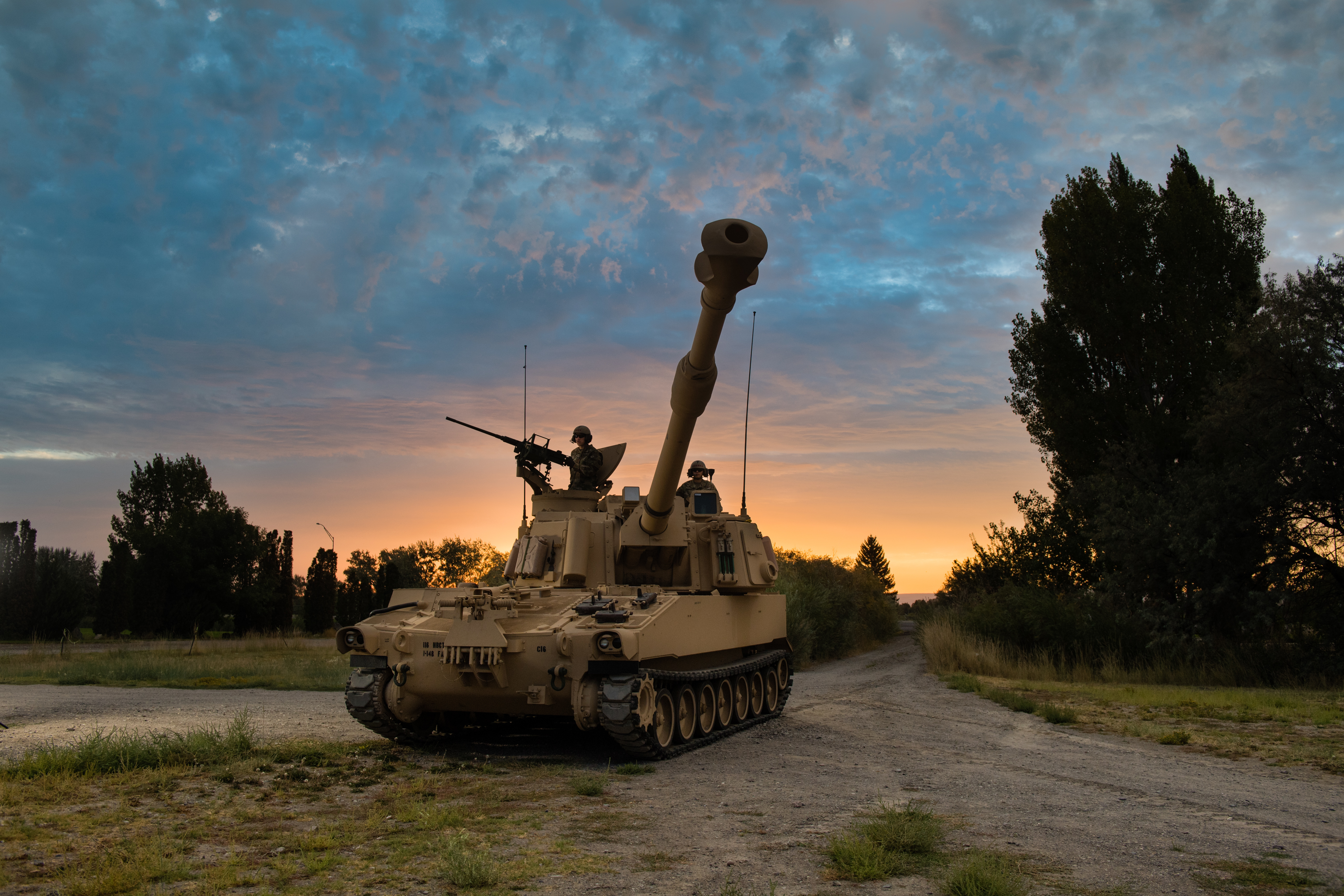 The M109A6 Paladin 155mm self-propelled howitzer along with the M992A2 Field Artillery Ammunition Supply Vehicle provides the primary indirect-fire support to armored brigade combat teams. (U.S. Army)