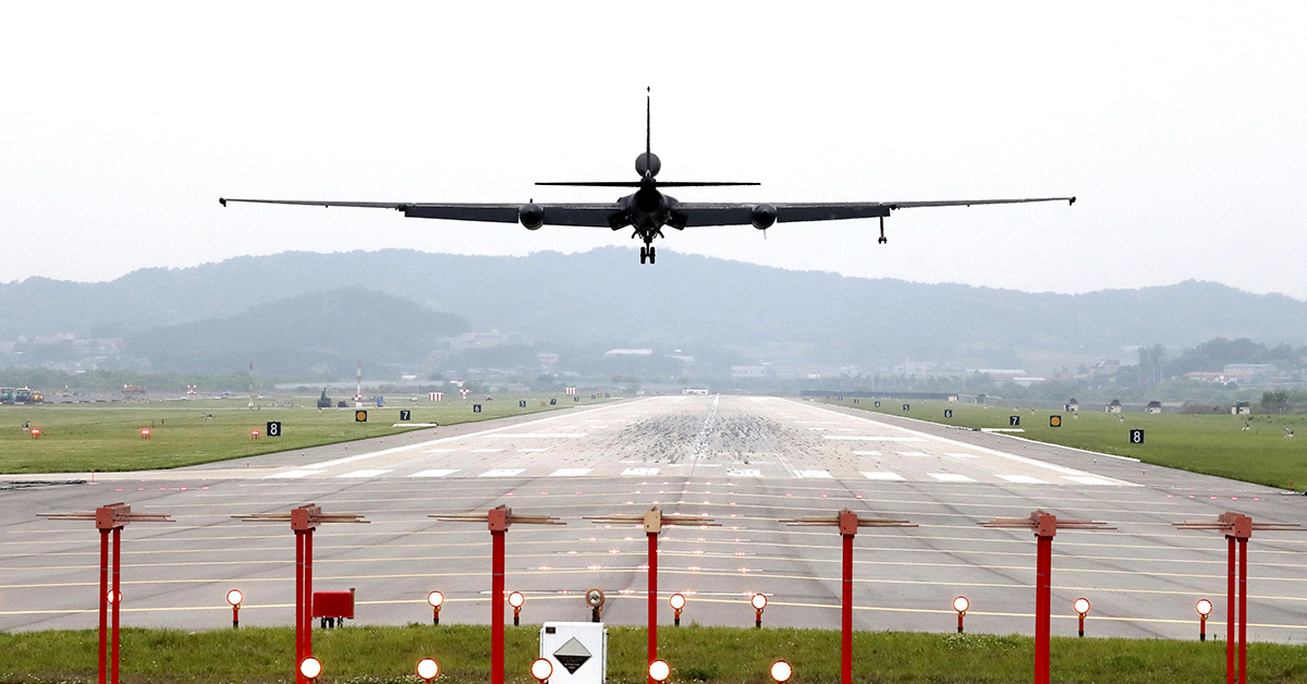 An Air Force U-2 spy plane prepares to land as South Korea and the United States conduct the Max Thunder joint military exercise at Osan Air Base in South Korea, May 16. (Kwon Joon-woo/Yonhap via AP)
