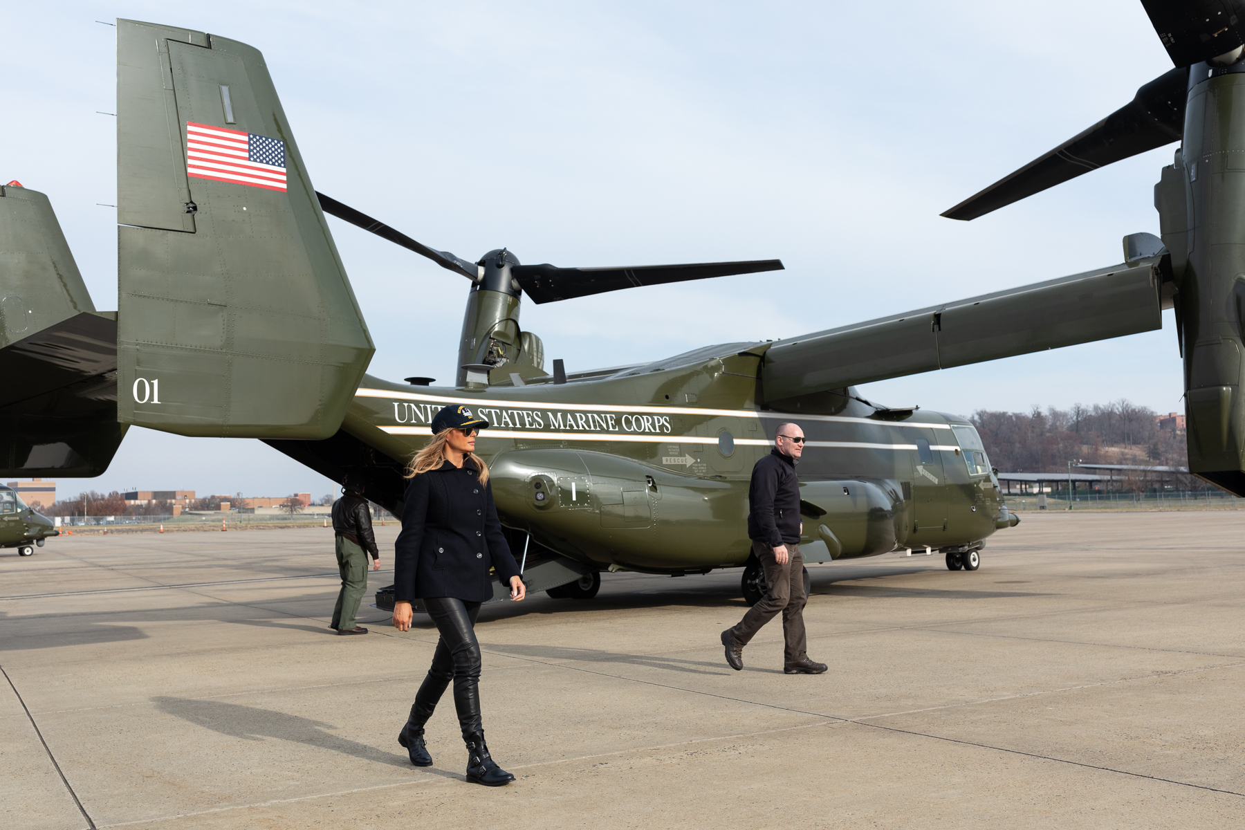 First lady Melania Trump departs a Marine Corps V-22 Osprey support aircraft at Joint Base Andrews, Md., on Dec. 12, 2018, following a holiday visit aboard USS George H.W. Bush. (Andrea Hanks/White House)