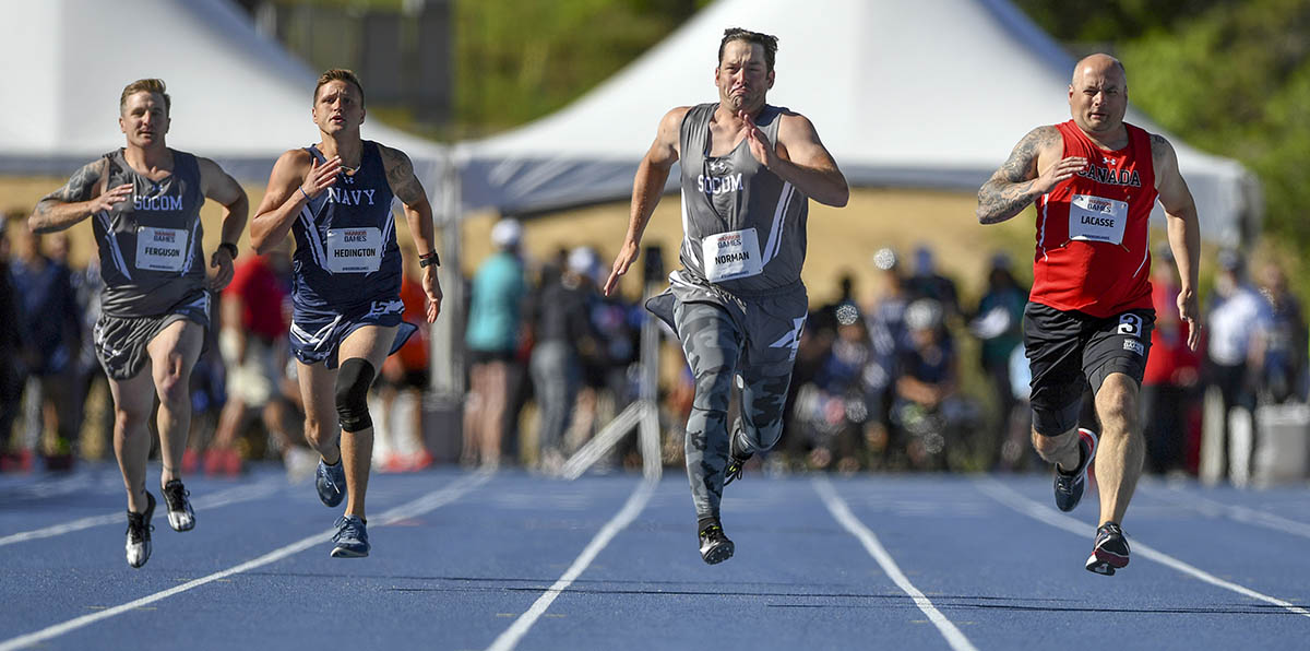 Racers sprint during the 100-meter dash during the 2018 Warrior Games at the Air Force Academy in Colorado Springs, Colo. June 2, 2018. (EJ Hersom/DoD)