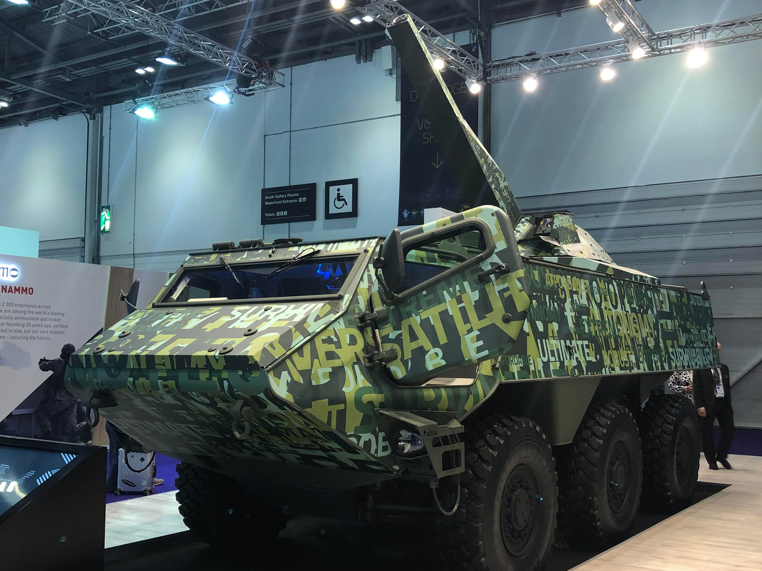 Finnish company Patria brought its armored wheeled vehicle with the 120mm mortar system it calls Nemo to DSEI in London in 2019. (Photo by Jen Judson/Staff)