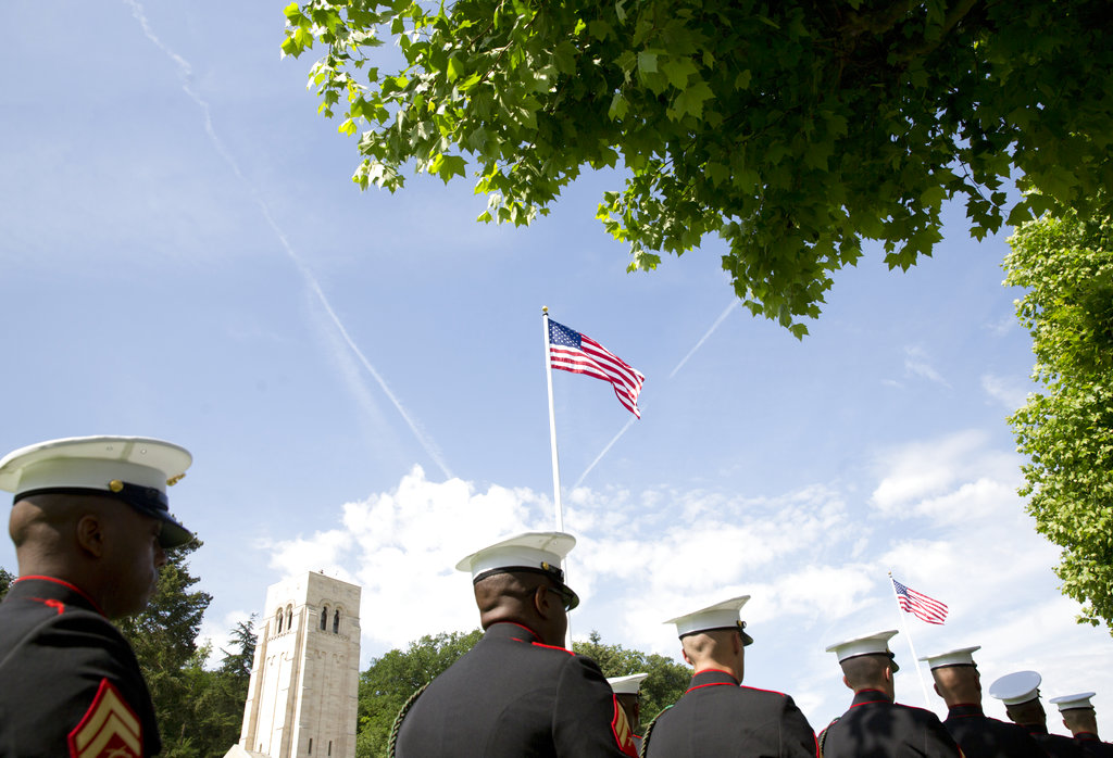 A U.S. Marine Corps detail marches during a Memorial Day commemoration at the Aisne-Marne American Cemetery in Belleau, France, Sunday, May 27, 2018. (Virginia Mayo/AP)