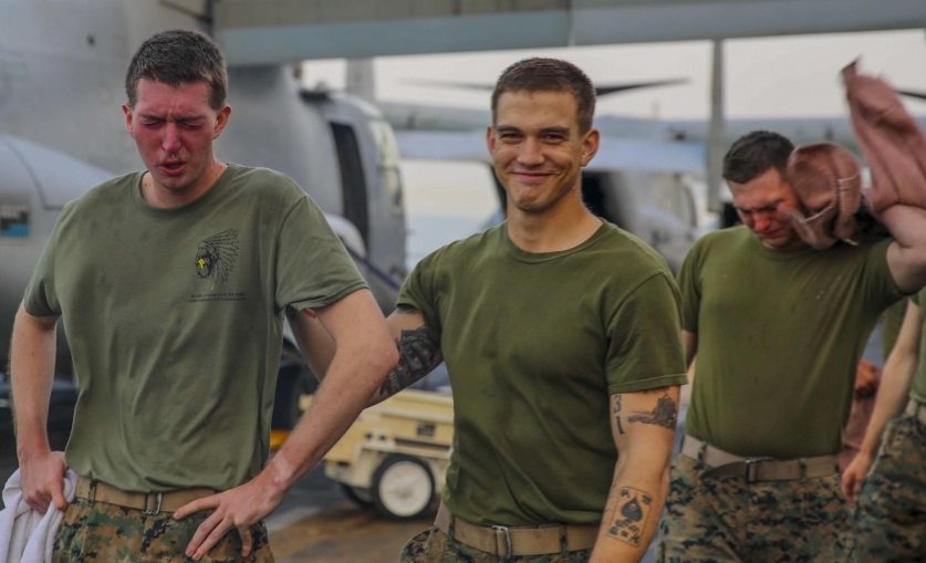 A day in the life — photos of Marines getting OC spray-certified are pure gold