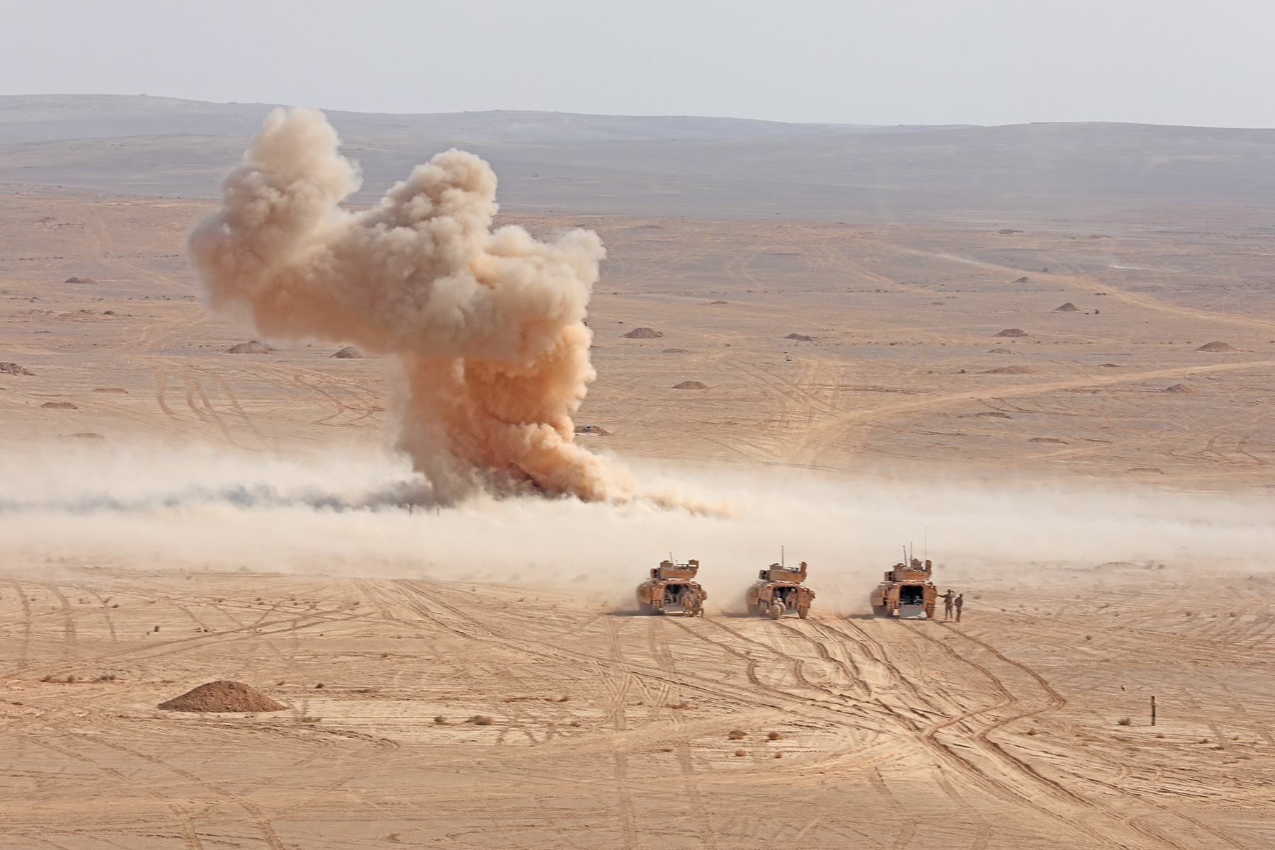 Soldiers practice detonating Bangalore torpedoes in Jordan, Aug. 29, 2019, during Eager Lion, a major U.S. Central Command exercise that aims to integrate forces in a multilateral environment. (Sgt. Liane Hatch/Army)