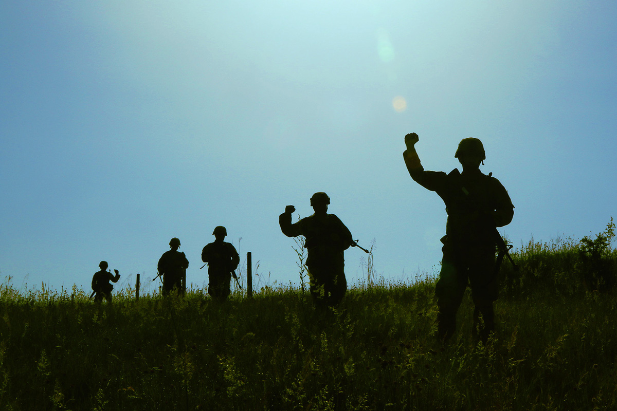 Members of the 838th Military Police Company out of Youngstown, Ohio, conduct a cordon and search exercise in the Preševo Valley as part of Platinum Wolf 2019 in South Base, Serbia. (Staff Sgt. Chad Menegay/National Guard)