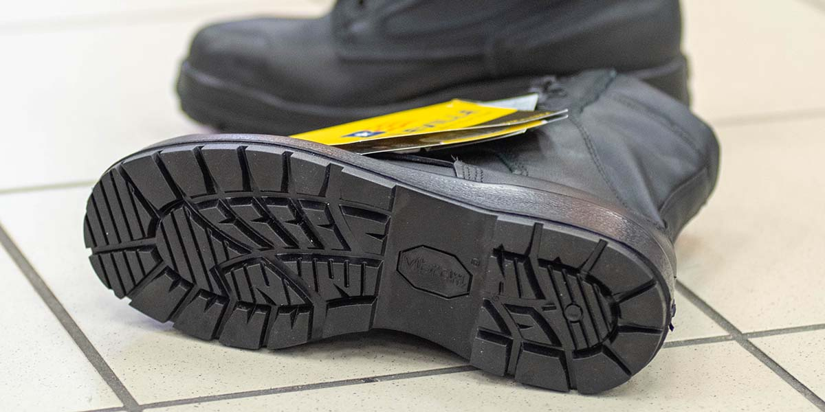 A look at the sole pattern of the Navy's new improved safety boot that is supposed to give better traction in a variety of environments. (Mark D. Faram/staff)