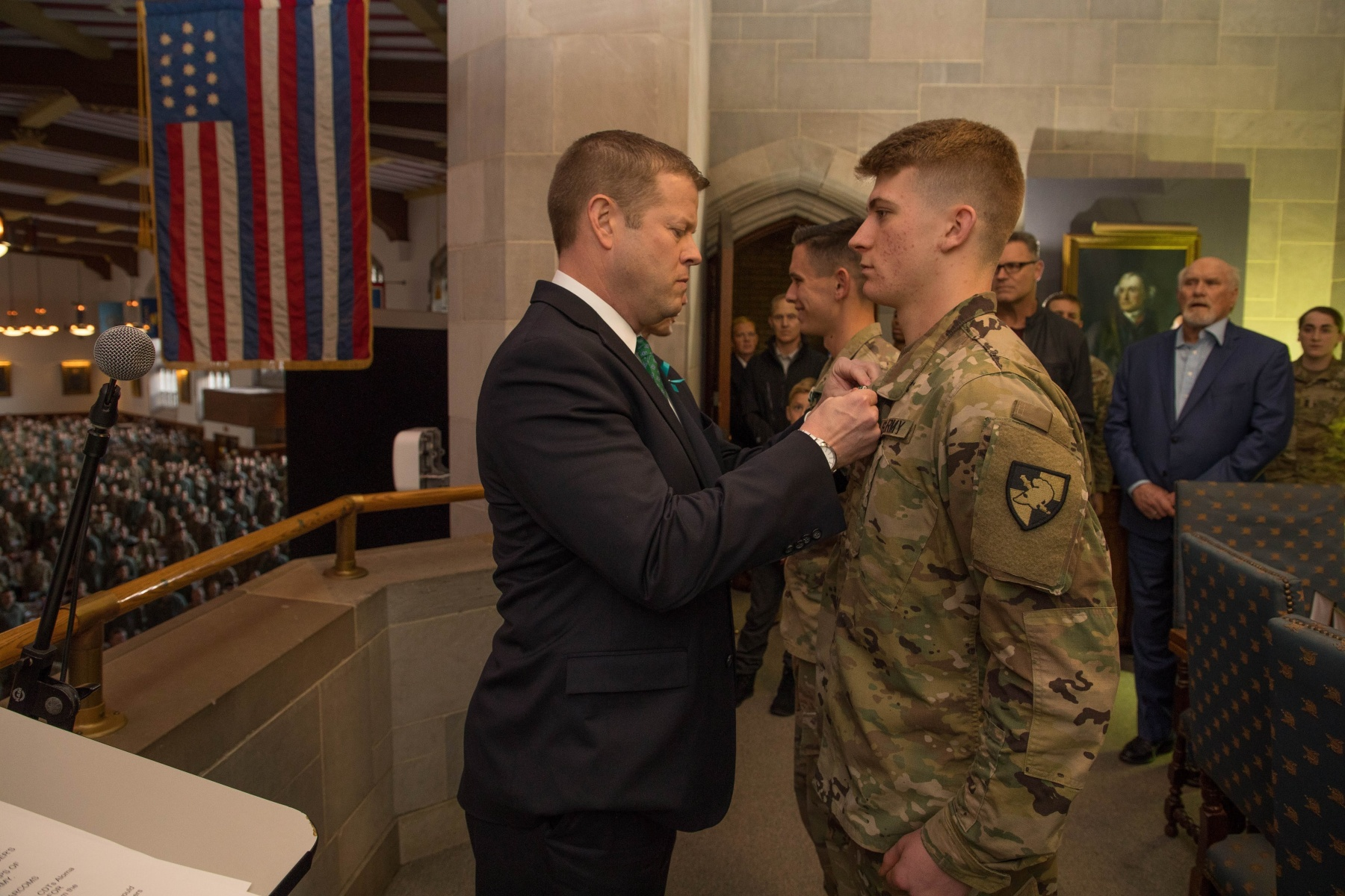 Secretary of the Army Ryan D. McCarthy issued the Army Commendation Medal and coins to Class of 2020 Cadet Zachary Aloma and Class of 2023 Cadet Hudson Durfield, who helped save a man's life after he collapsed following a heart attack, during his visit to West Point on November 08, 2019. (Tarnish Pride/Army)