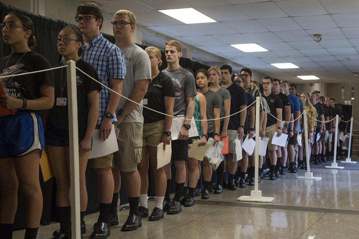New recruit cadets stand in line to be processed in Thayer Hall on July 2, 2018. (Bryan Ilyankoff/Army)