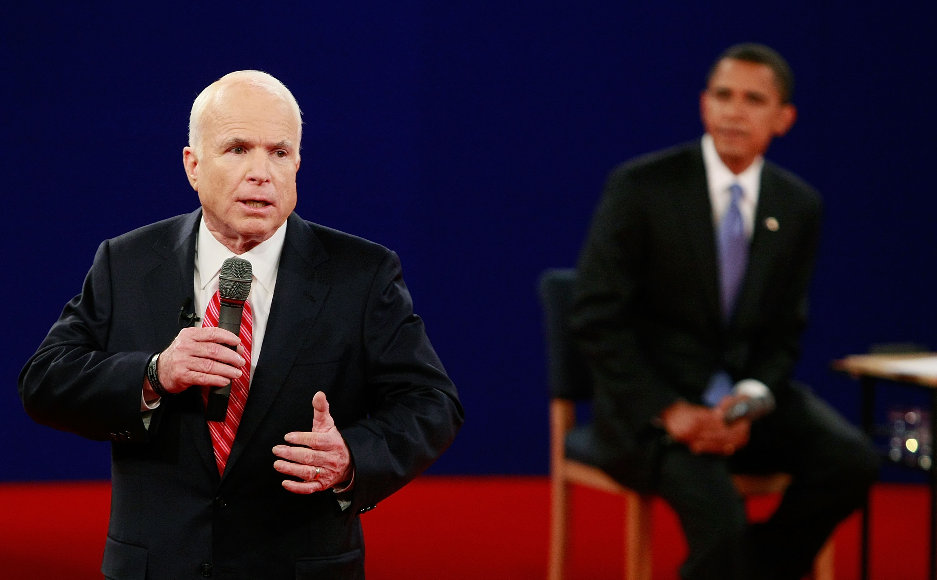 Republican presidential candidate Sen. John McCain, R-Ariz. left, speaks during a debate with Democratic presidential candidate Sen. Barack Obama, D-Ill. McCain lost the general election to Obama in 2008. (Mark Wilson/Getty Images)