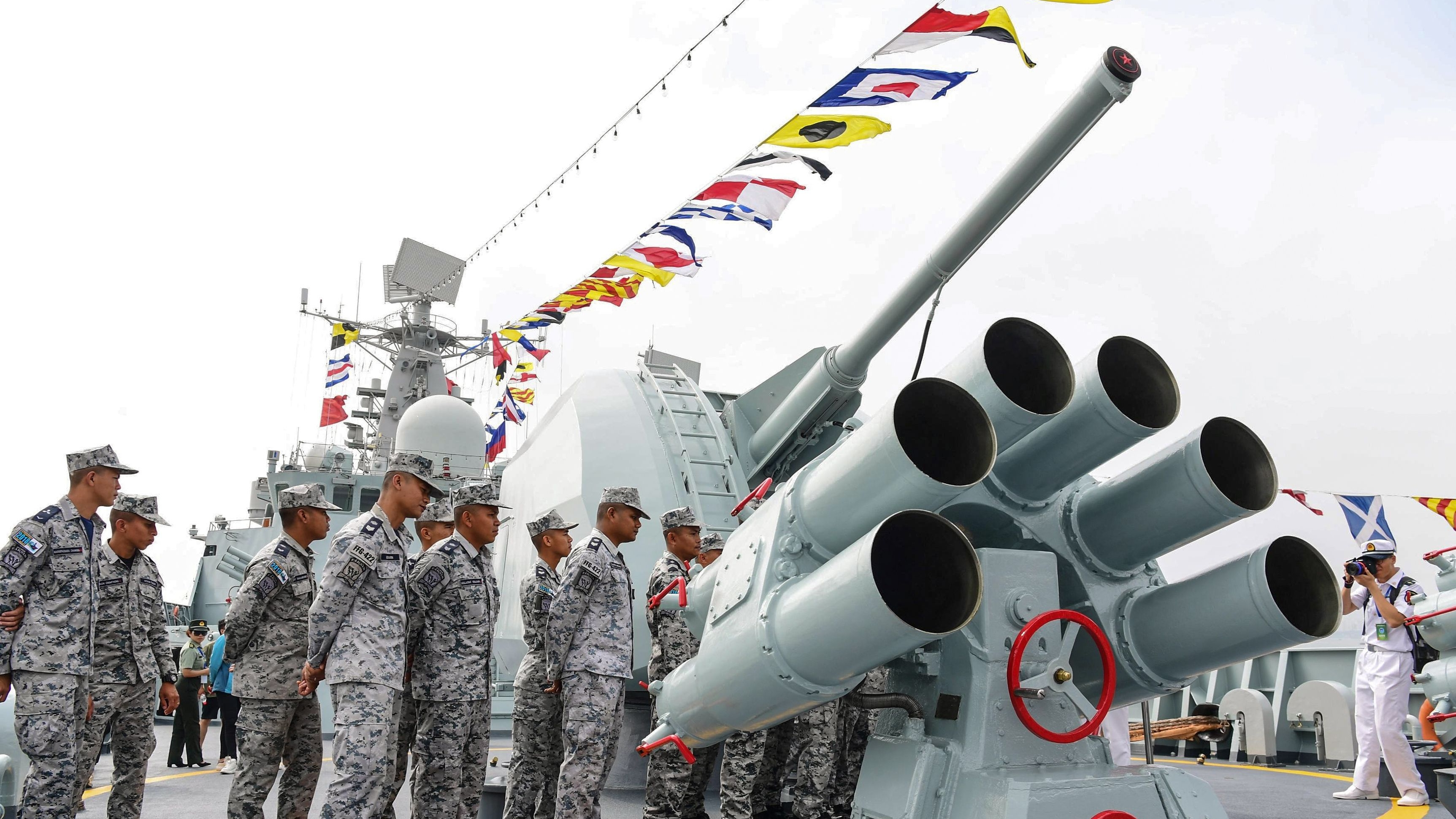 This photo taken on October 24, 2018 shows Thai sailors visiting Chinese guided missile destroyer Guangzhou during the ASEAN-China Maritime Exercise at a military port in Zhanjiang, in China's southern Guangdong province. - China and the Association of Southeast Asian Nations (ASEAN) states kicked off their first joint maritime exercises on October 22 in an effort to ease regional tensions linked to rival claims in the South China Sea. (STR/AFP/Getty Images)