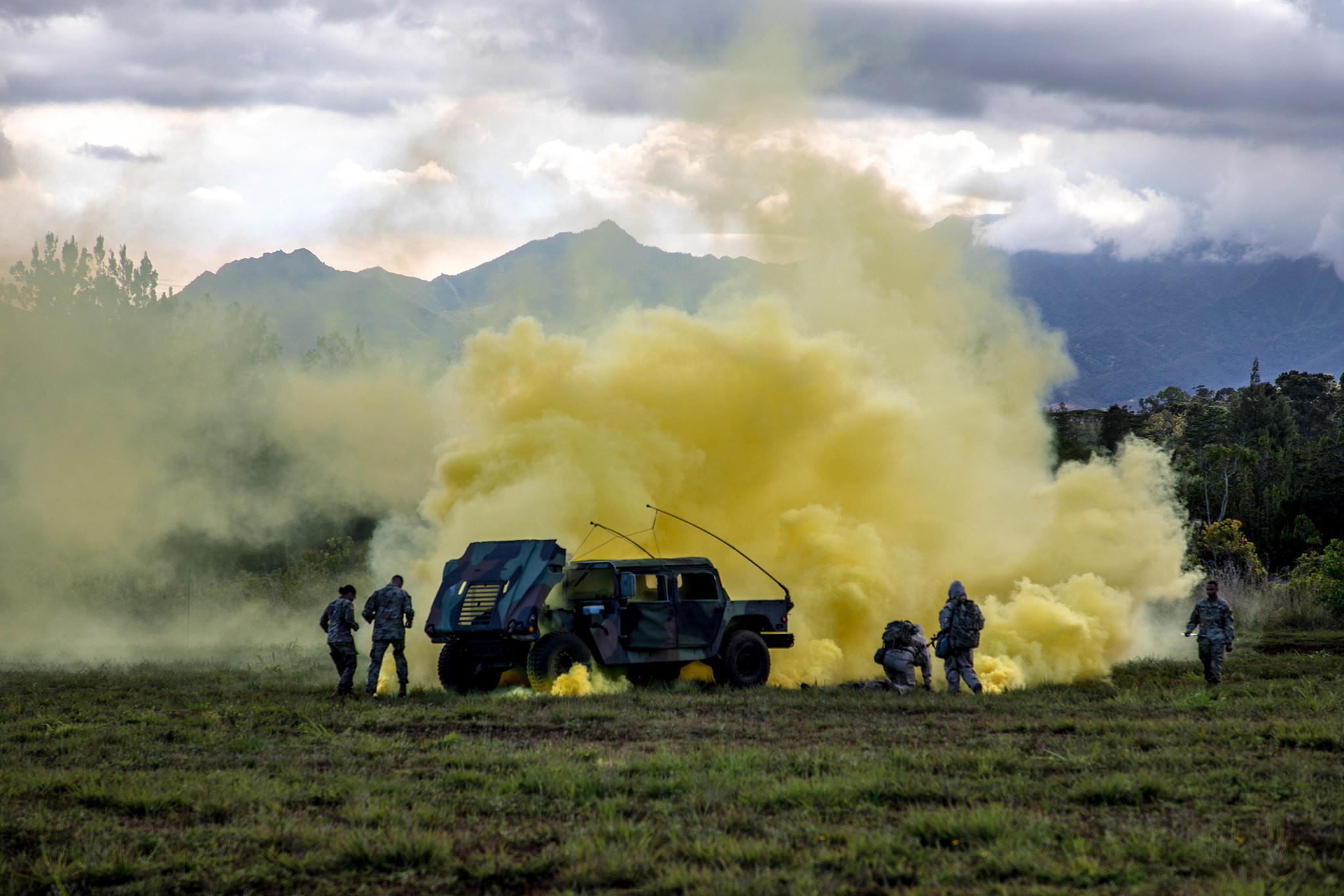 Soldiers test their knowledge of Chemical, Biological, Radiological and Nuclear (CBRN) at the CBRN lane ran by 25th Sustainment Brigade CBRN specialist during Day 1 of the 25th ID NCO/Soldier of the Year five day competition held 12-16 May 2019, Schofield Baracks, Hawaii. (Sgt. Sarah D. Williams/Army)